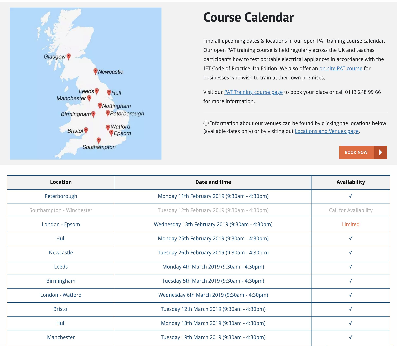 PAT Course Calendars